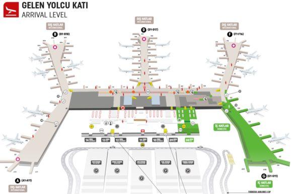 イスタンブール空港内マップ 到着階