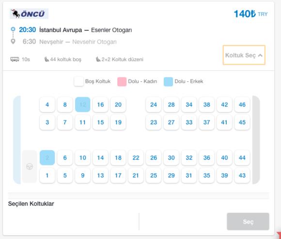 トルコの長距離バス総合検索サイト Nereden nereye