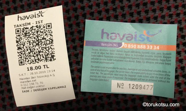 Havaistのチケットと荷物引換券