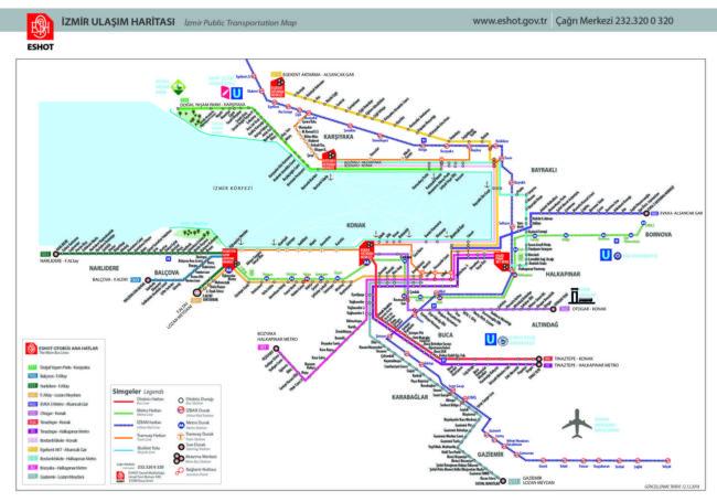 イズミル観光に役立つ路線図