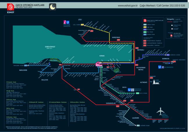 イズミル観光に役立つ深夜バス路線図