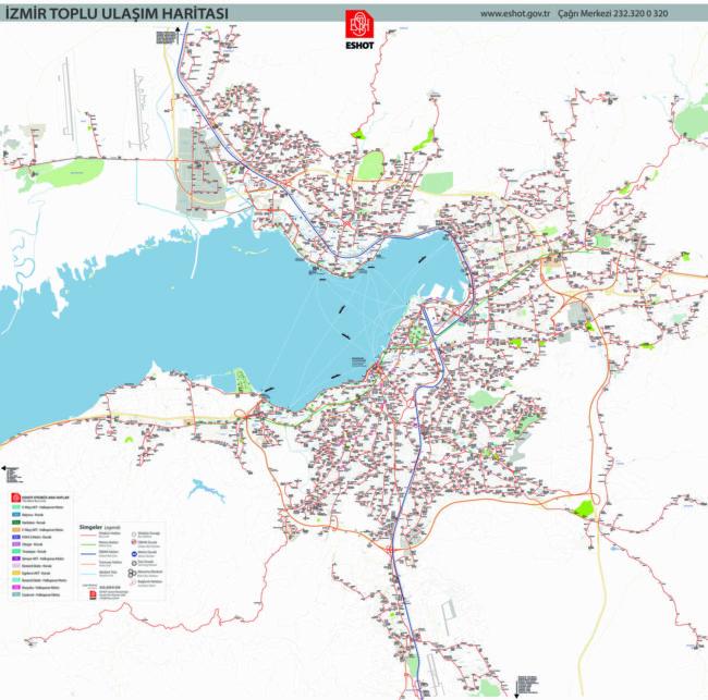 イズミル観光に役立つ市バス路線図
