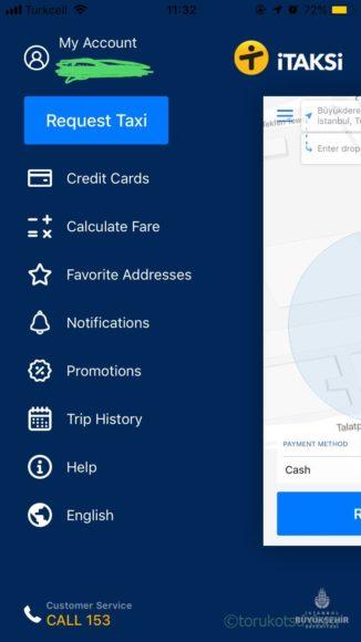 iTaksiアプリの画面