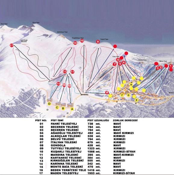 ブルサ ウルダーのスキーコースとリフト図