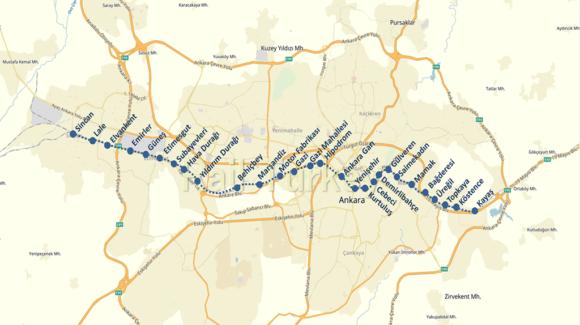 アンカラ鉄道路線図マップ