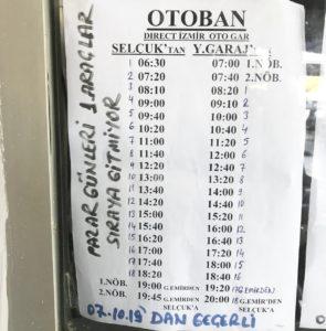 セルチュクからイズミルバスターミナルへのドルムシュ時刻表(2019/9月時点)