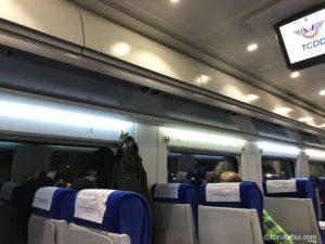 TCDDトルコ鉄道の車両内頭上荷物入れ